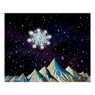 Starry Sky w BIG Snowflakes Poster