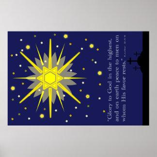 starry sky with crosses  luke 2:14 poster