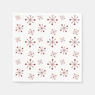 Starry Snowflakes Cranberry Paper Napkins