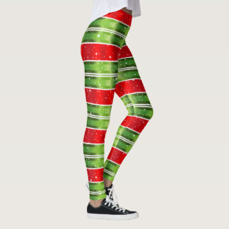 Starry Snowy Red Green White Horizontal Stripes Leggings