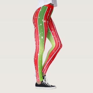 Starry Snowy Red Green White Vertical Stripes Leggings