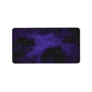 Starry Space Nebula Scene Label