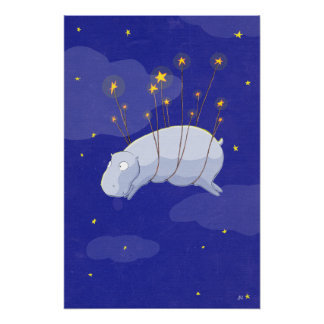 Starry Starry Hippo, a Children's Illustration Pos Poster