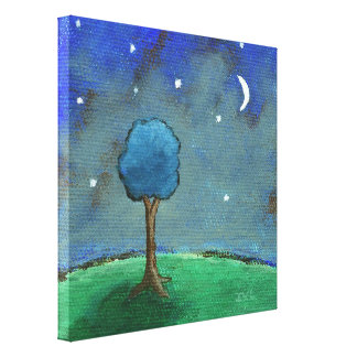 Starry Starry Night, Whimsical Tree Landscape Art Canvas Print