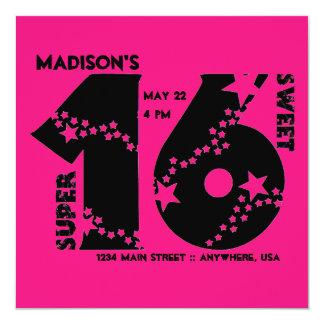 Starry Super Sweet 16 Invitation