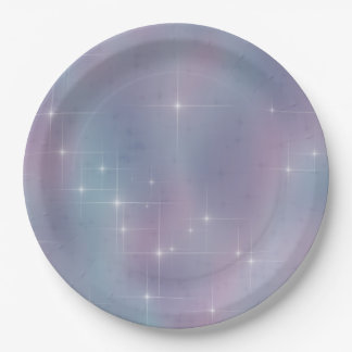 Starry Teal and Mauve Paper Plate