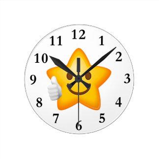 Starry Thumbs Up Emoji Round Clock