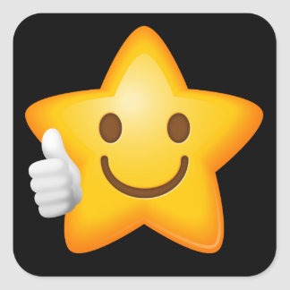 Starry Thumbs Up Emoji Square Sticker
