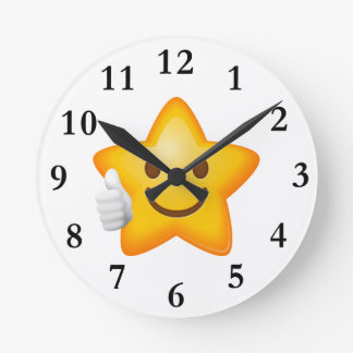 Starry Thumbs Up Emoji Wallclock