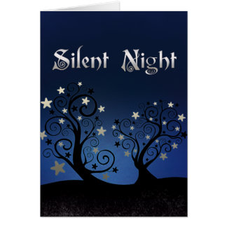 Starry Trees Silent Night Card