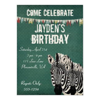 Starry Zebras Retro Birthday Invitation