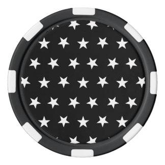 Stars 8 Black and White Poker Chips Set