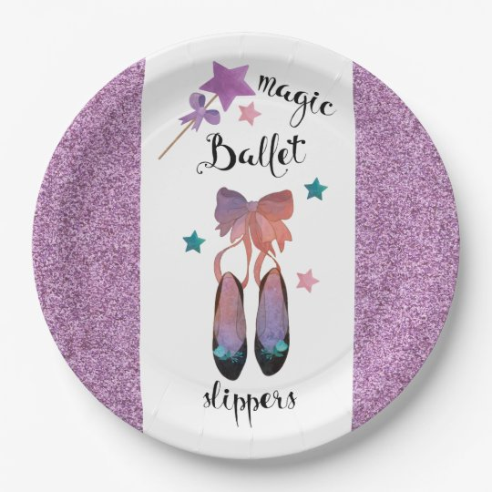 Stars and Bows and Magic Ballet Slippers 9 Inch Paper Plate