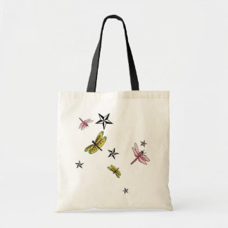 stars and dragonflies tote bag