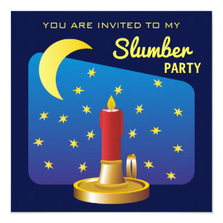 Stars and Moon Birthday Boy Slumber Party Card