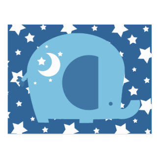 Stars and Moon Blue Elephant Postcard