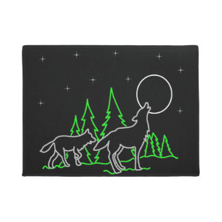 Stars And Moon Wolf Door Mat