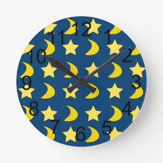 Stars And Moons Blue And Yellow Wall Clock