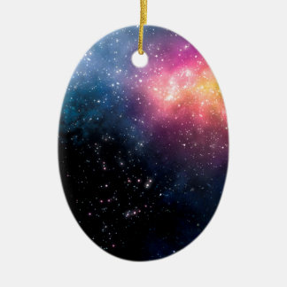 Stars and Nebulas Ceramic Oval Ornament
