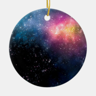 Stars and Nebulas Round Ceramic Ornament