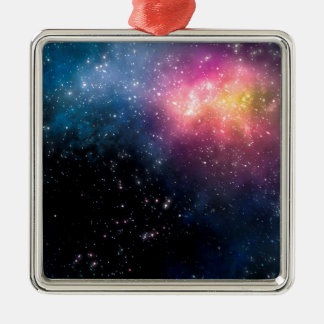 Stars and Nebulas Silver-Colored Square Ornament