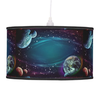 stars and planets galaxy space hanging lamp