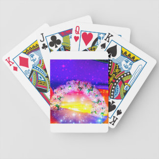 Stars and rainbow of flowers in celebration bicycle playing cards