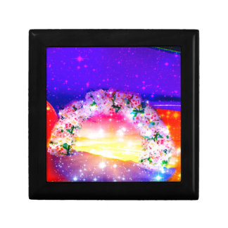 Stars and rainbow of flowers in celebration gift box