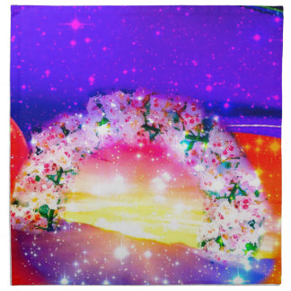 Stars and rainbow of flowers in celebration napkin