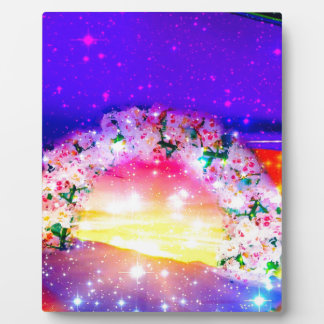 Stars and rainbow of flowers in celebration plaque