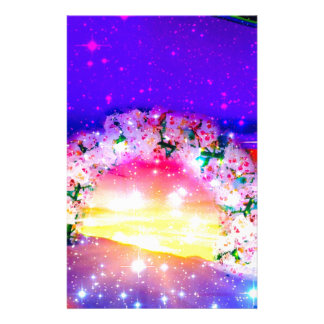 Stars and rainbow of flowers in celebration stationery