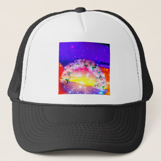 Stars and rainbow of flowers in celebration trucker hat