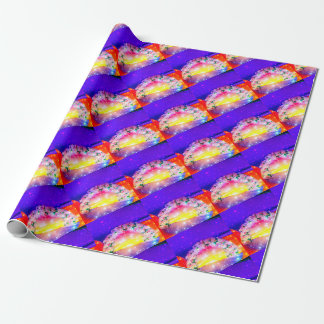 Stars and rainbow of flowers in celebration wrapping paper