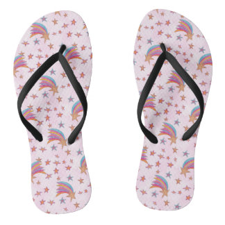 Stars and Rainbow Pattern Illustration Flip Flops