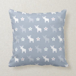 Stars and reindeers pink-purple-blue pattern throw pillow