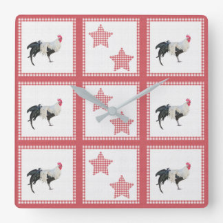 Stars And Roosters Country Decor Wall Clock