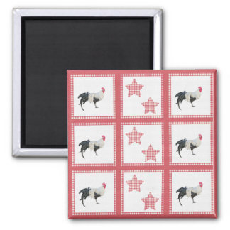 Stars And Roosters Country Refrigerator Magnet
