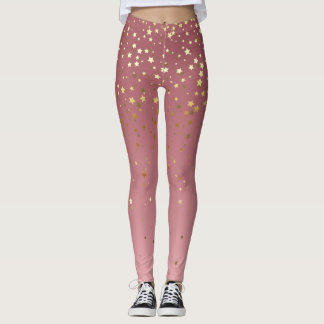 Stars And Rose Pink Ombre Design Leggings