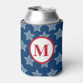 Stars and Stripes 4th of July Monogram Can Cooler