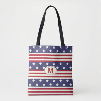 Stars and Stripes American Flag Patriotic Monogram Tote Bag