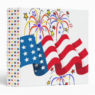 Stars and Stripes and Fireworks 3 Ring Binder