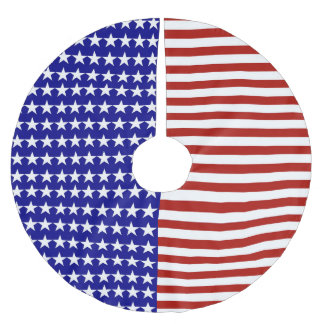 Stars and Stripes Background Brushed Polyester Tree Skirt