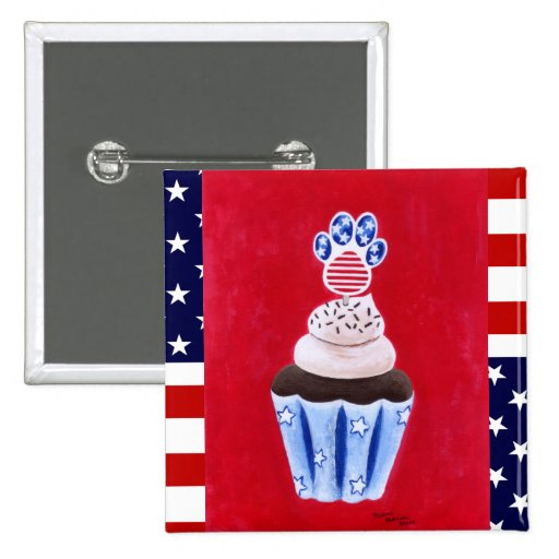 Stars and Stripes Cupcake for Animal Lovers Pins