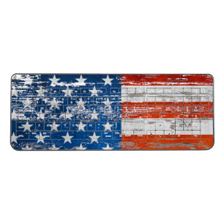 Stars And Stripes Distressed Wood  American flag Wireless Keyboard