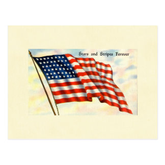 Stars and Stripes Forever July 4th Flag Postcard