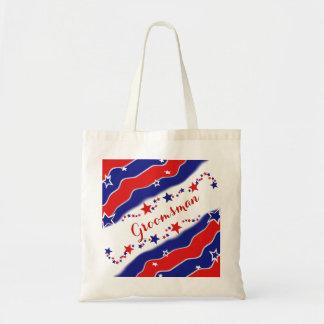 Stars and Stripes GROOMSMAN Budget Tote Bag