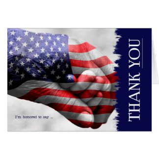 Stars and Stripes Hand in Hand Thank YOU Blank Card