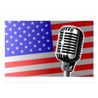 Stars And Stripes Microphone Postcard