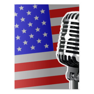 Stars And Stripes Microphone Postcard