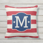 Stars and Stripes Monogram | Patriotic Throw Pillow